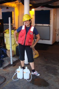 Ready to collect water samples...